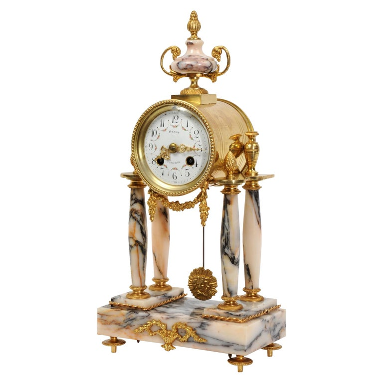 Ormolu and Specimen Marble Portico Antique French Clock Louis XVI For Sale