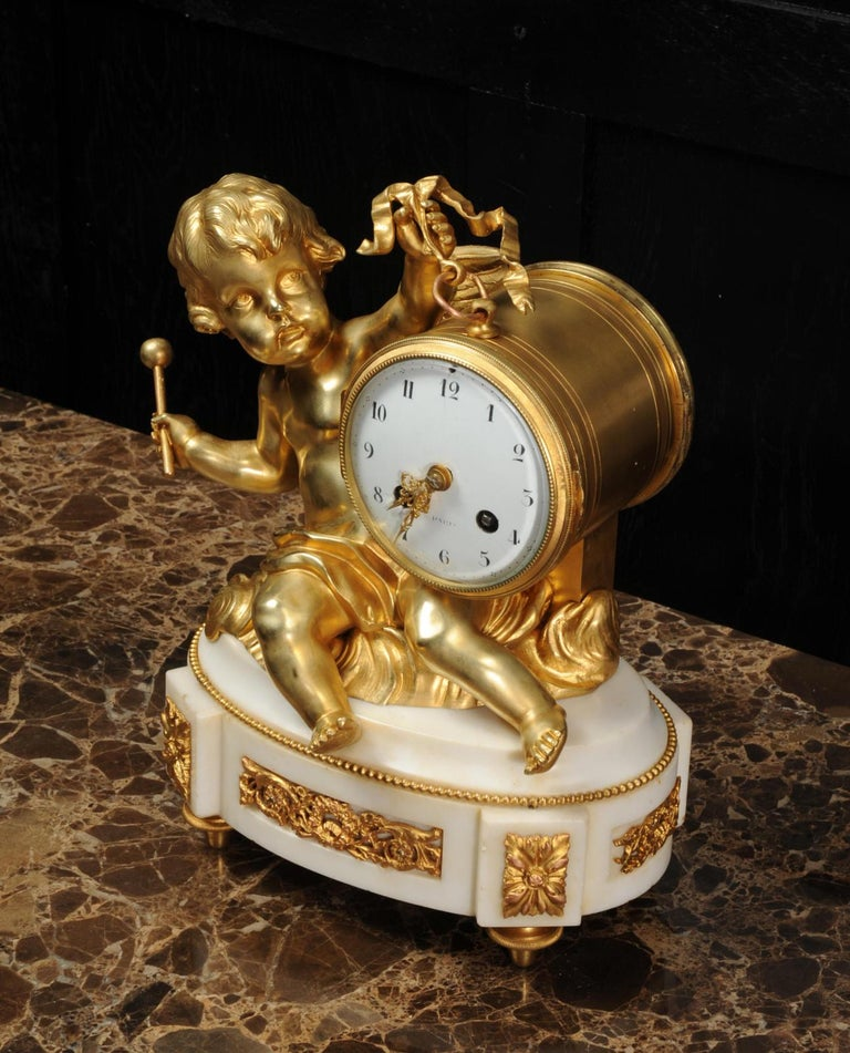 Ormolu and White Marble Antique Clock, Putto Floating in Clouds Playing a Drum For Sale 4