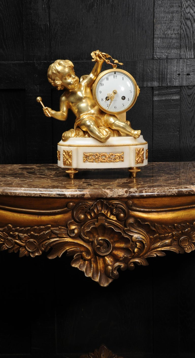 Ormolu and White Marble Antique Clock, Putto Floating in Clouds Playing a Drum For Sale 7