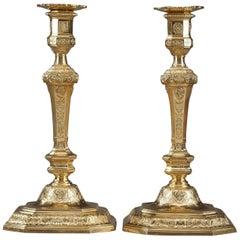 Ormolu Louis XIV-Louis XV Style Candlesticks