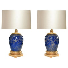 Ormolu-Mounted Blue Porcelain Lamps