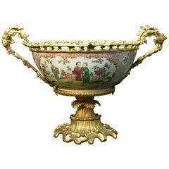 Ormolu Mounted Chinese Porcelain Bowl Centerpiece, 19th Century