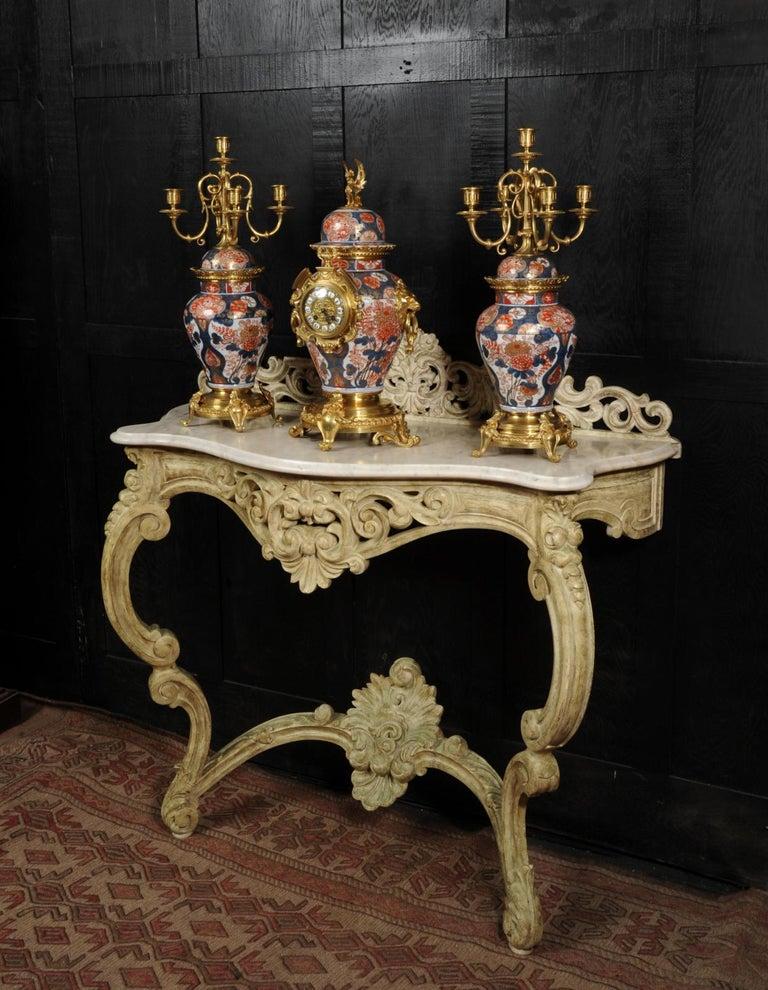 Ormolu Mounted Imari Porcelain Antique Clock Set For Sale 2