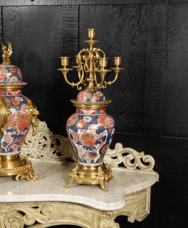 Ormolu Mounted Imari Porcelain Antique Clock Set For Sale 7