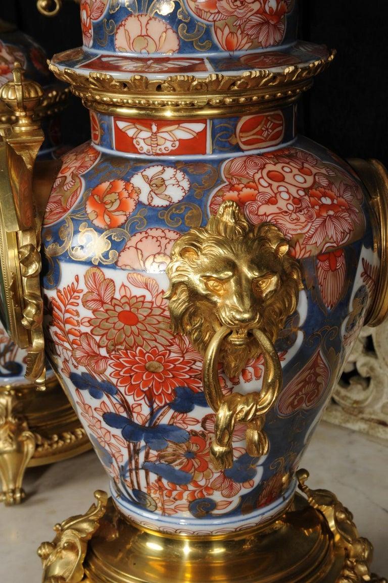 Ormolu Mounted Imari Porcelain Antique Clock Set For Sale 9