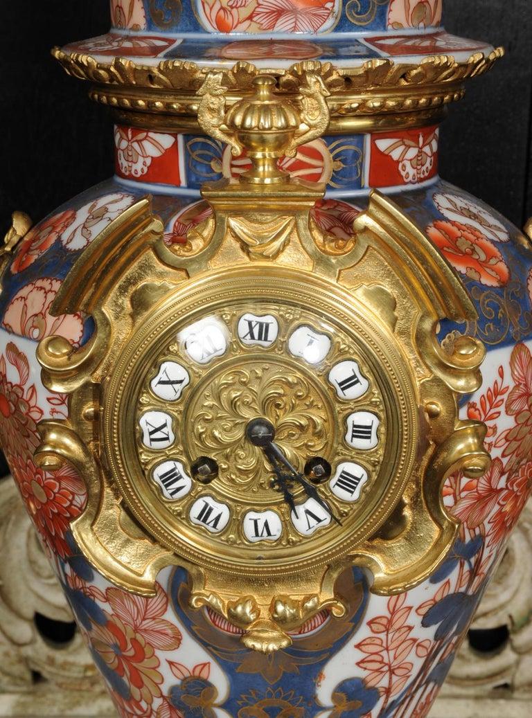 Ormolu Mounted Imari Porcelain Antique Clock Set For Sale 10