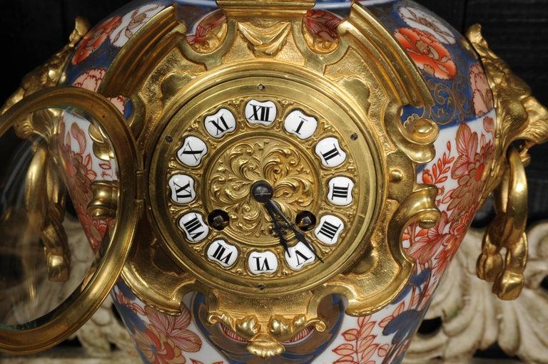 Ormolu Mounted Imari Porcelain Antique Clock Set For Sale 11