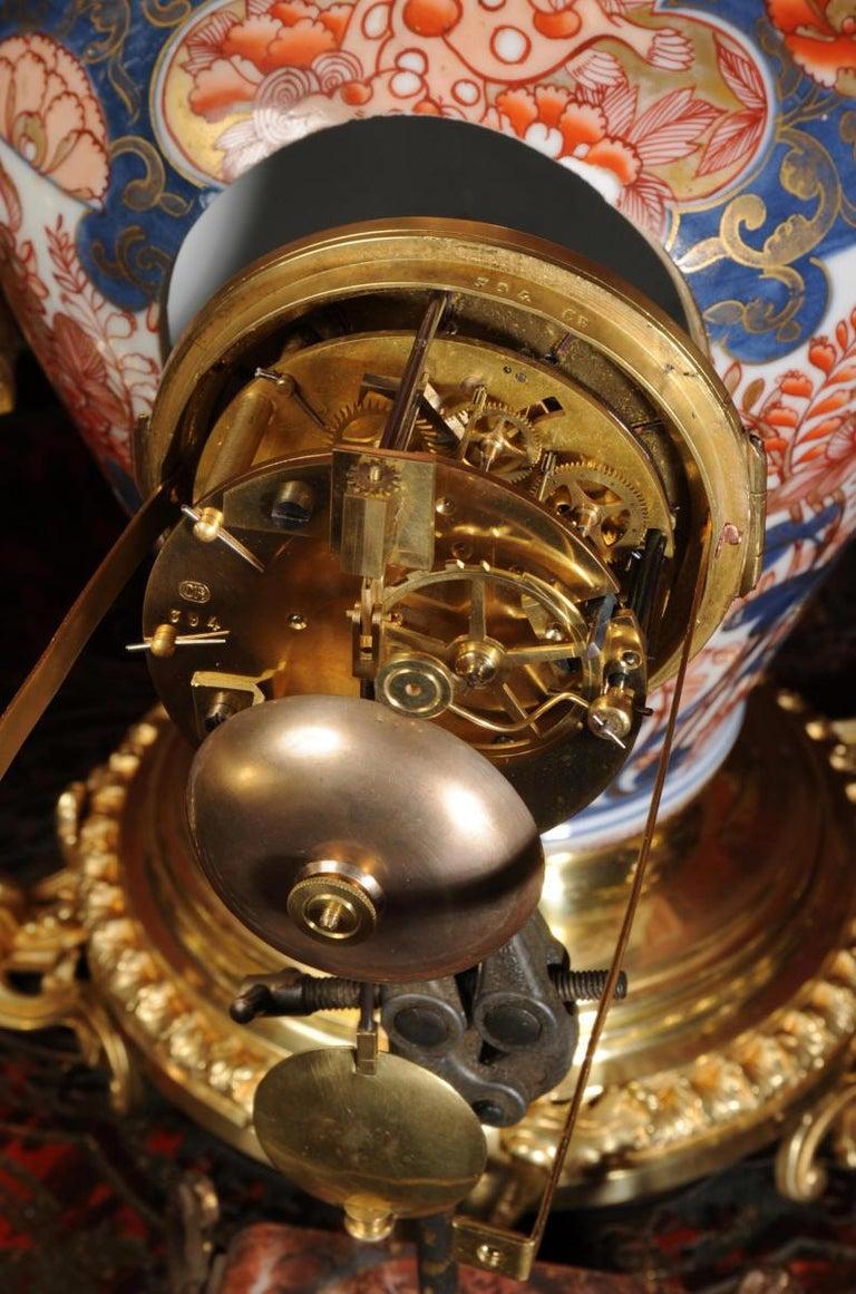 Ormolu Mounted Imari Porcelain Antique Clock Set For Sale 12