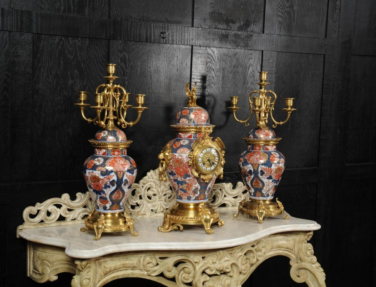 Louis XV Ormolu Mounted Imari Porcelain Antique Clock Set For Sale