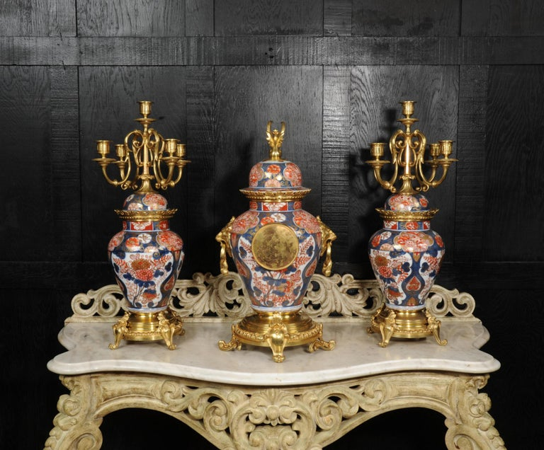 French Ormolu Mounted Imari Porcelain Antique Clock Set For Sale