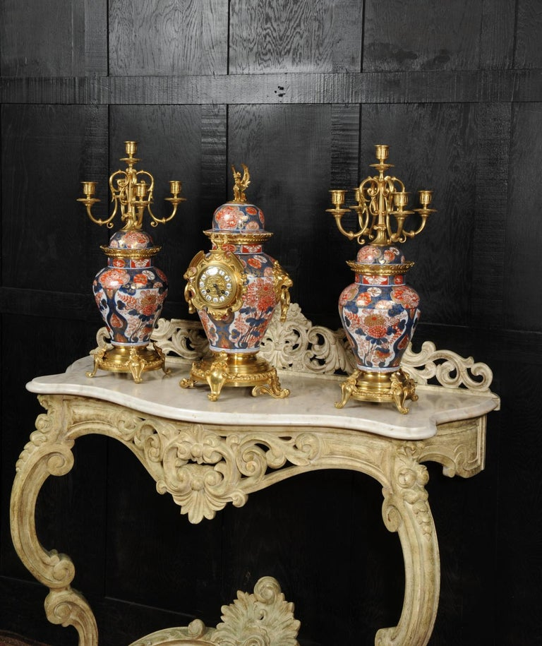 Gilt Ormolu Mounted Imari Porcelain Antique Clock Set For Sale