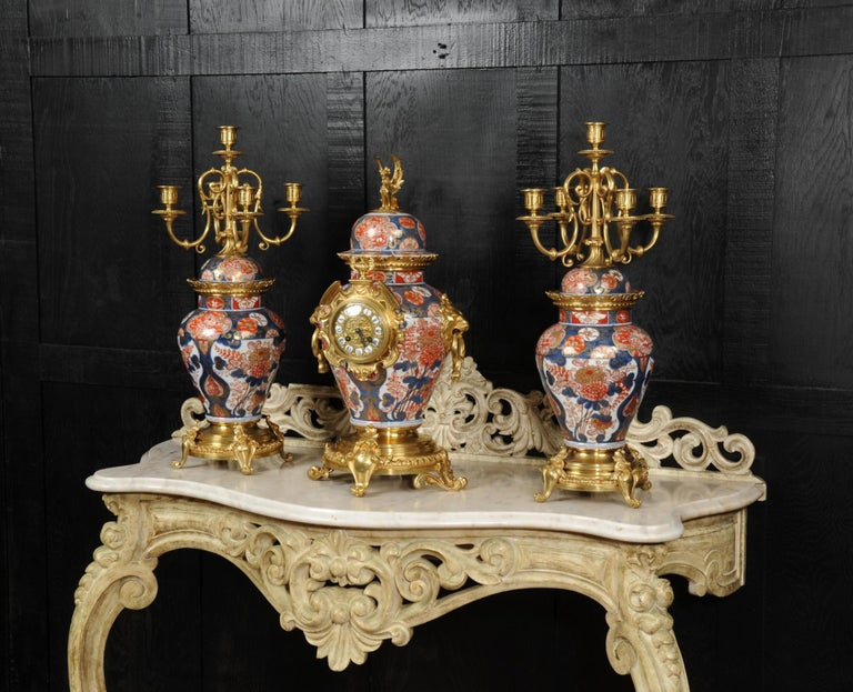 19th Century Ormolu Mounted Imari Porcelain Antique Clock Set For Sale