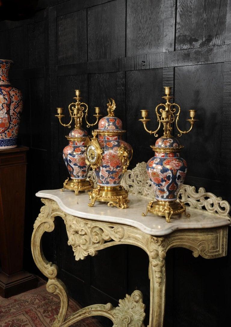 Bronze Ormolu Mounted Imari Porcelain Antique Clock Set For Sale