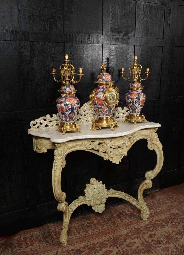 Ormolu Mounted Imari Porcelain Antique Clock Set For Sale 1