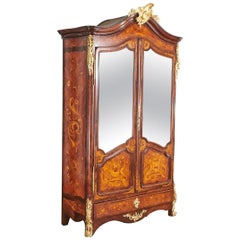 Ormolu Mounted Marquetry Armoire with Mirrored Doors