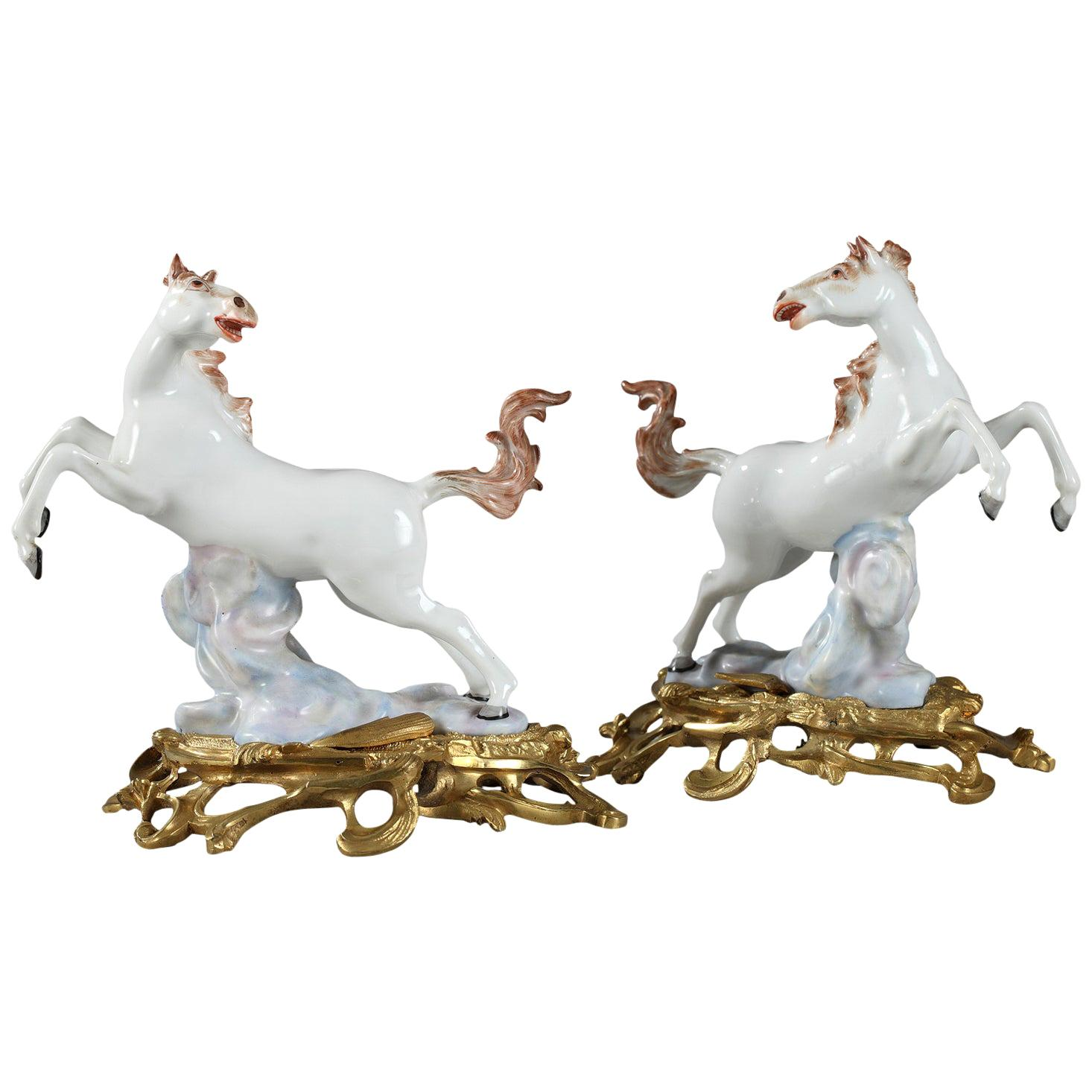 Ormolu-Mounted Porcelain Horses by Samson Manufactory