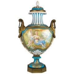 Ormolu-Mounted Sèvres Style Turquoise-Ground Vase and Cover