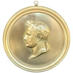 Messingbeschläge Portrait Tafel, Napoleon als Caesar nach Bovy