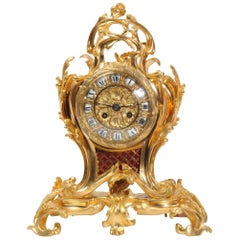 Ormolu Rococo Table Clock by Charpentier Paris