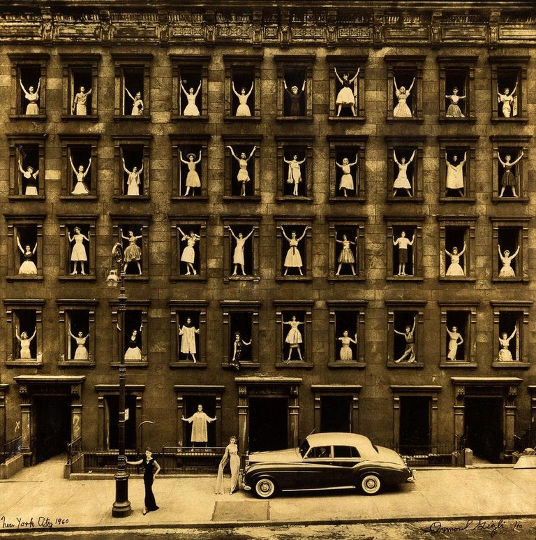 Ormond Gigli Portrait Photograph - Girls in the Window, Platinum on Vellum with Gold Leaf Fashion Photo, Ed of 10