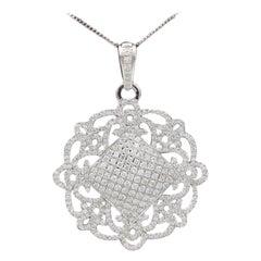 Ornament Style Diamond Pendant 18 Karat White Gold