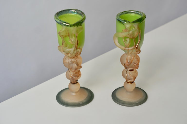 Two ornamental glasses by Tamaian. Measures: Height 22cm. Diameter 9 cm.