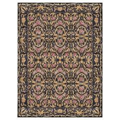 Ornamental Indigo Velvet - Patterned Modern Hand Knotted Wool Viscose Rug