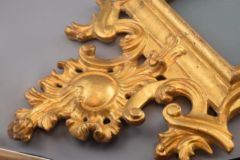 European Ornamental Mirror Frame, Giltwood, 18th Century For Sale