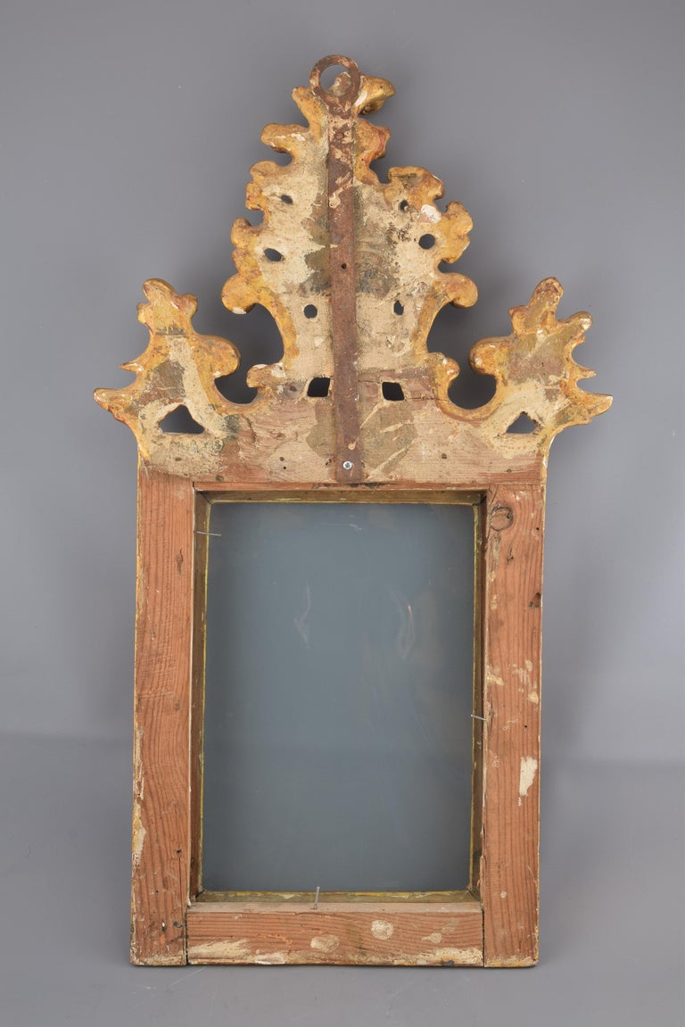 Ornamental Mirror Frame, Giltwood, 18th Century In Distressed Condition For Sale In Madrid, ES