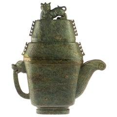 Ornamental Vase Precious Canadian Jade Carved Oriental mythological Animal Vase