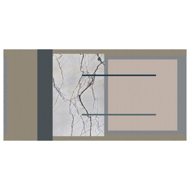 Ornami Marble Geometric Pattern Vinyl Wallpaper Made in Italy Digital Printing For Sale