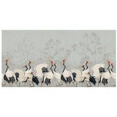 Ornami Nature Oriental Birds Gru Vinyl Wallpaper Made in Italy Digital Printing
