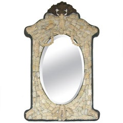 Ornate 18th Century French Beveled Mirror Carved from Whale Bone