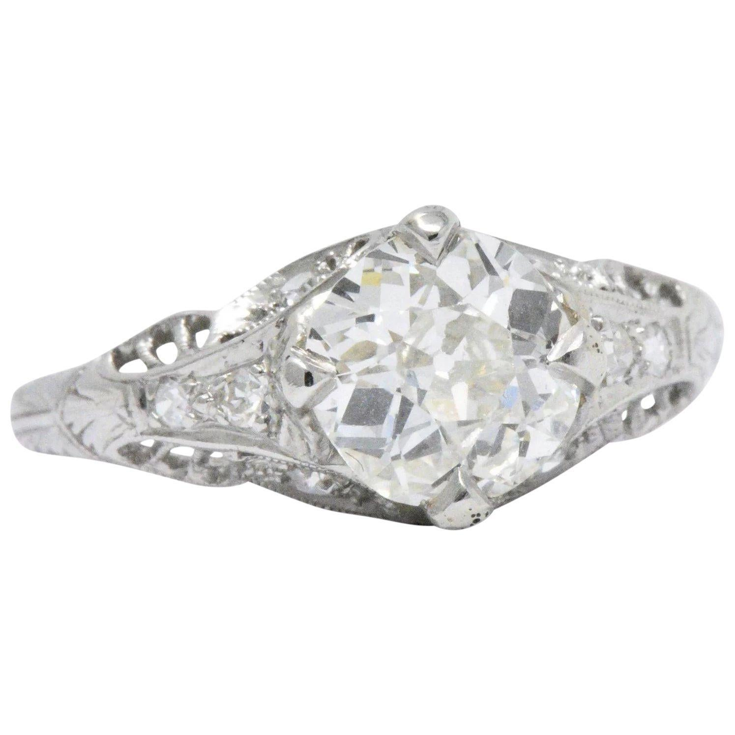 Art Deco 1.44 Carats Diamond Platinum Foliate Engagement Ring GIA