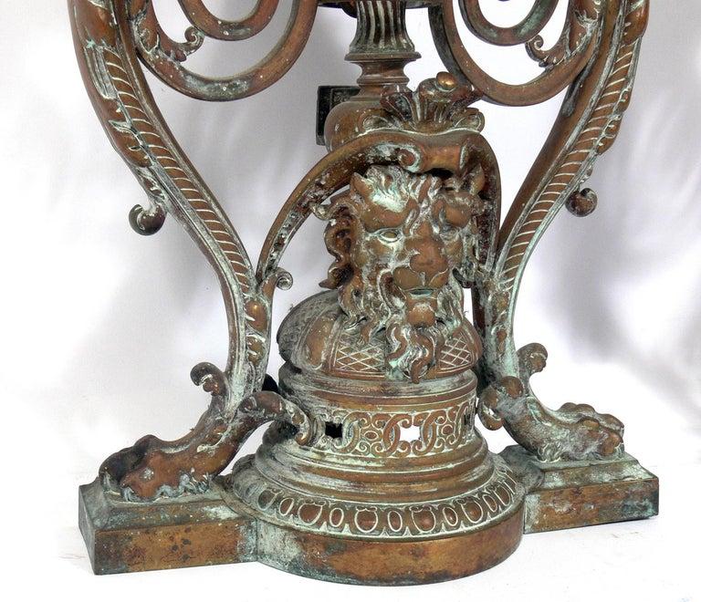 Regency Ornate 19th Century Bronze Andirons For Sale