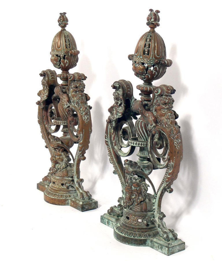 Italian Ornate 19th Century Bronze Andirons For Sale