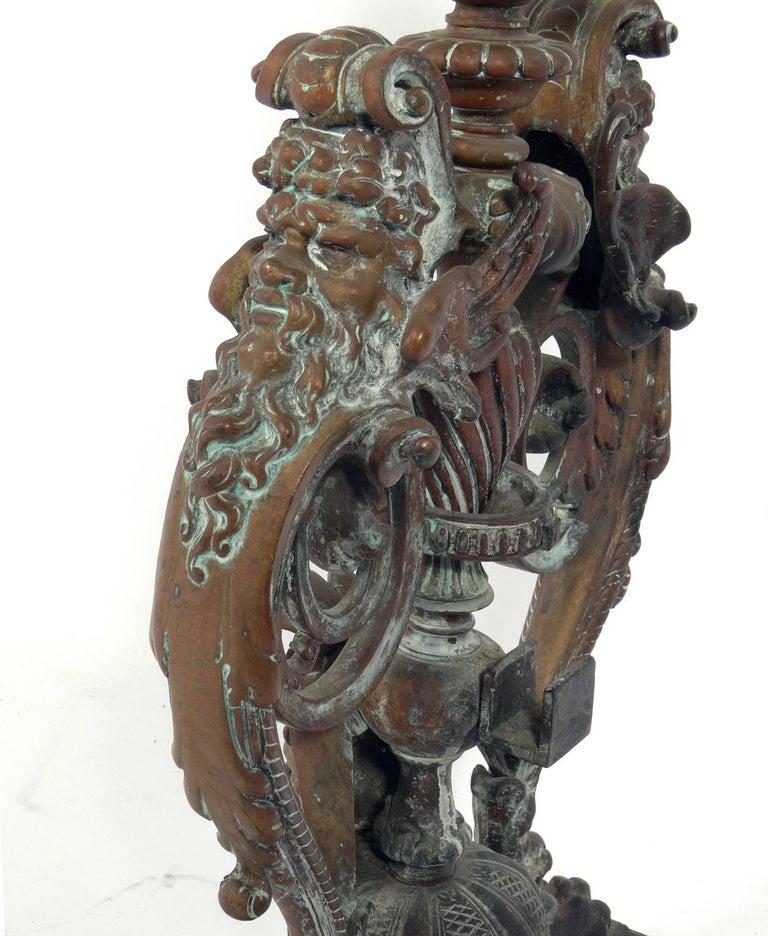Ornate 19th Century Bronze Andirons In Distressed Condition For Sale In Atlanta, GA