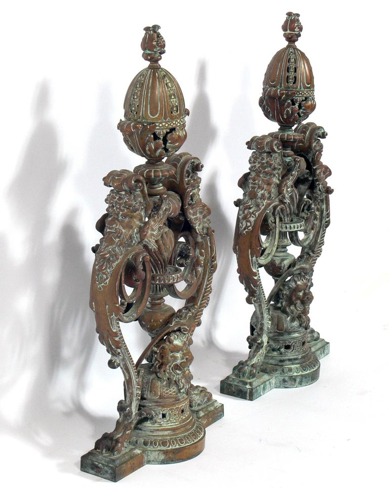 Iron Ornate 19th Century Bronze Andirons For Sale