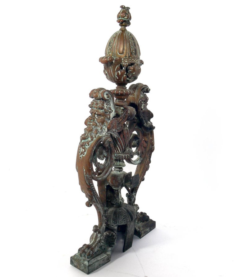 Ornate 19th Century Bronze Andirons For Sale 1