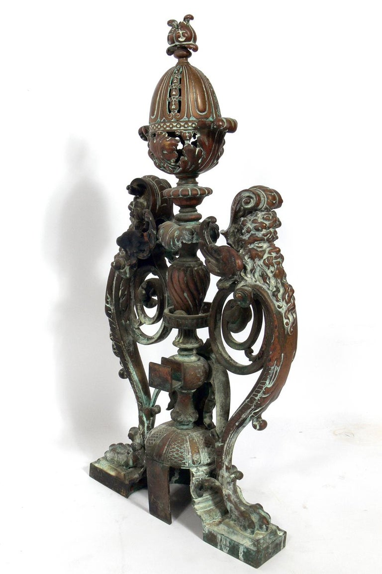 Ornate 19th Century Bronze Andirons For Sale 3