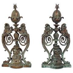 Ornate 19th Century Bronze Andirons