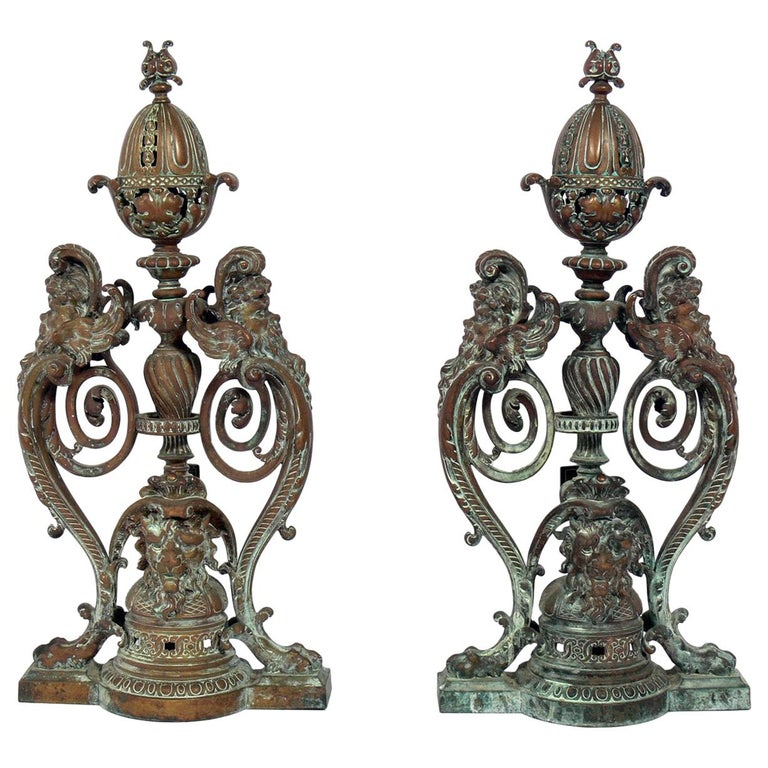 Ornate 19th Century Bronze Andirons For Sale