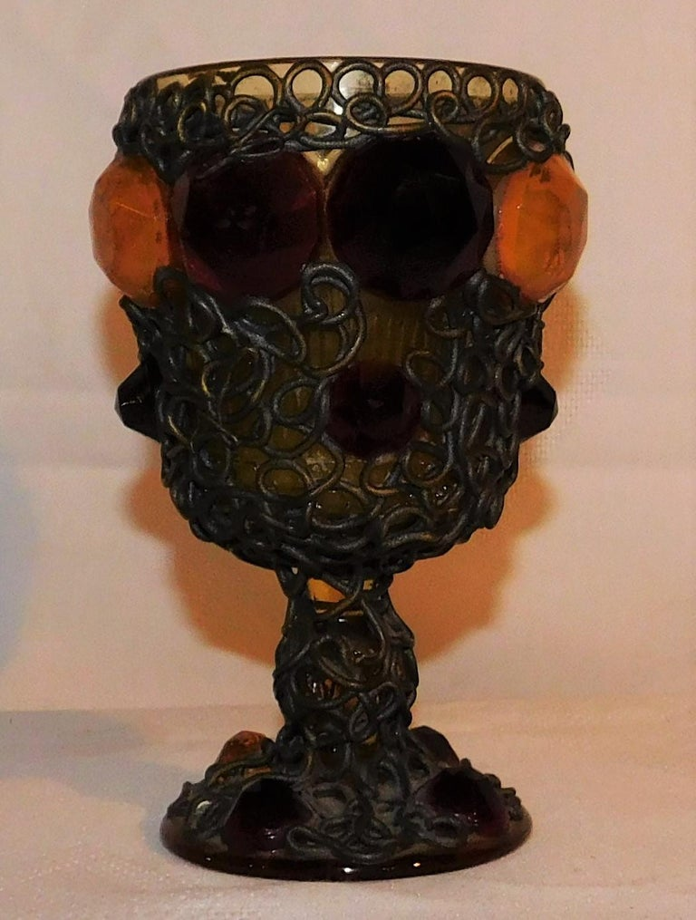 Brass Ornate 19th Century Medieval Style Bejeweled Goblet/Chalice For Sale