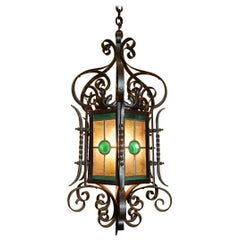 Ornate American 19th Century Iron & Tole Hanging Lantern, Colored Glass Panels