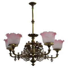 Ornate Antique 19th Century Five Branch Brass Chandelier