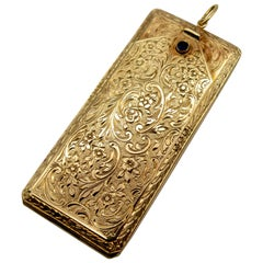 Ornate Antique Engraved Gold Pendant Box