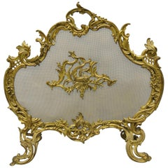 Ornate Antique French Rococo Louis XV Style Bronze Fireplace Fire Screen