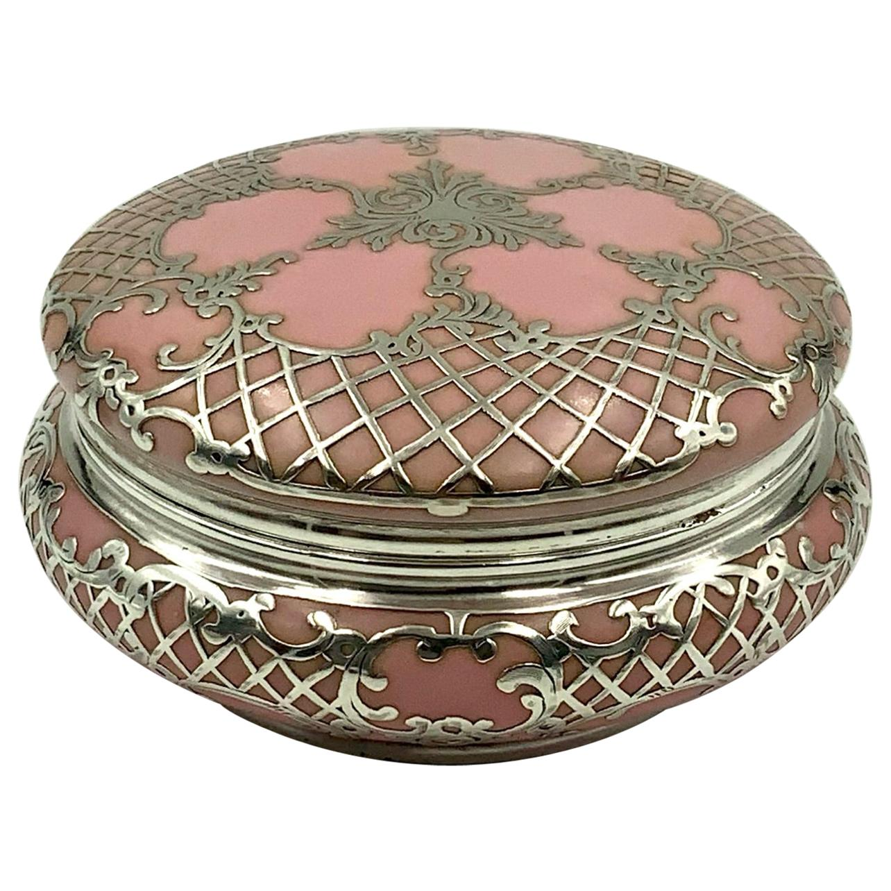 Ornate Antique Sterling Silver Pink Porcelain Vanity Powder Jar Trinket Box