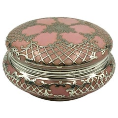 Ornate Antique Sterling Silver Pink Porcelain Vanity Powder Jar Trinket Box
