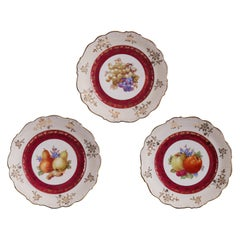 Ornate Assortment of 3 Colorful Porcelain Plates Hand Painted and Stamped